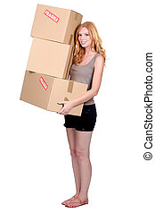 Redhead girl with cardboard moving