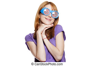 Redhead girl with funny glasses