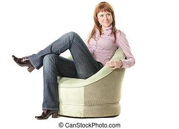 Redhead in chair