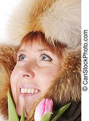 Redhead in warm hood