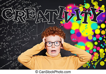 Redhead kid. Creativity education development concept