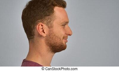 redhead male portrait in profile