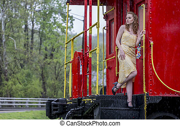 Redhead Model In The Rain