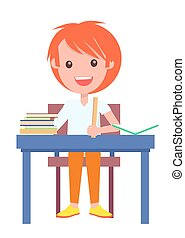 Redhead Schoolboy Sitting at Table, Pile of Books