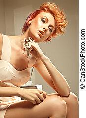 redhead, skönhet, framställ