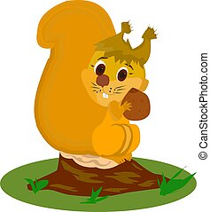 Redhead squirrel holds a nut in its paws, and sits on a stump in the woods, a character on a white background