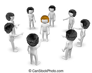 redhead - 3d illustration of redhead surrounded by brunettes