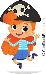 Redhead wearing cocked hat with the skull dancing little pirate. Girl kid in Halloween costume dancing and laughing. Vector. Character for Halloween party, invitations, web, mascot. Isolated