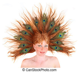Redhead With Peacock Feathers in Her Hair
