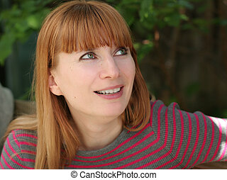Redhead woman - Happy mature woman outdoors