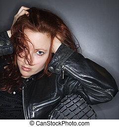 redhead, woman., nätt