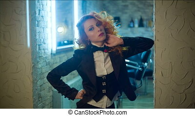 Redhead woman poses - portrait of Beautiful curly Young...