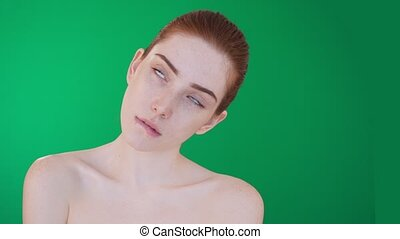 Redhead woman posing and fooling around with naked...