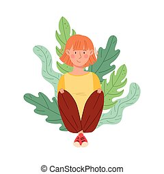 Redhead Woman Sitting on the Ground with Floral Leaves Behind Vector Illustration