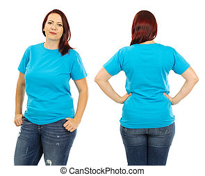 Redhead woman wearing blank light blue shirt