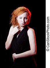Redhead woman winking
