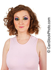 Redhead woman with colorful makeup