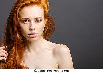 redhead woman,eyelashes, perfect skin. girl,shiny wavy hair