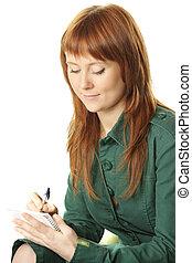 Redhead writing