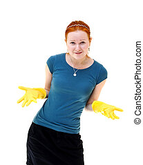 redhead young woman with yellow gloves