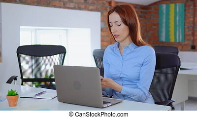 redheaded busy employee - young multitasking manager with...