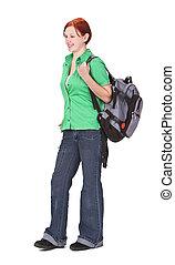 Redheaded girl backpacker