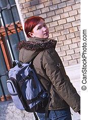 Redheaded girl student