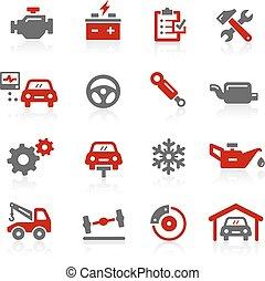 redico, serviço, ícones, série, -, car