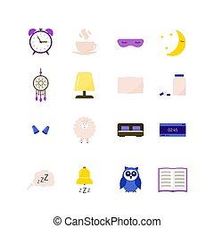 redigera, sömnlöshet, sömn, ikon, sleeplessness, problem, biljard, dreamcatcher, lägenhet, öronpropp, objects., sova, kudde, uggla, concept., vektor, lätt, kopp, set., sheep, säng, template., alarm, maskera