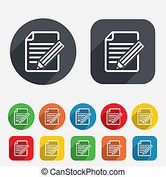 redigere, button., segno, contenuto, icon., documento