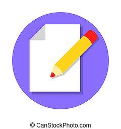 redigere, documento, icona