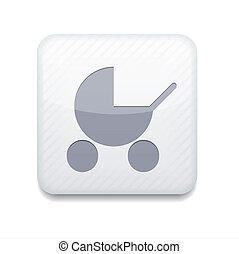 redigere, eps10., vettore, facile, bianco, carrozzina, icon.