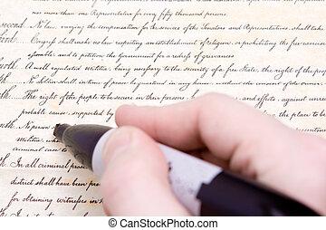 redigere, fjerde, ændring, amerikansk. forfatning, marker
