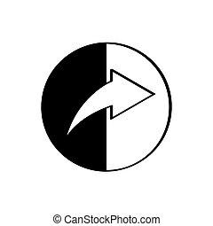 redirect, branca, isolado, fundo, ícone
