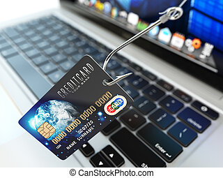 ?redit card phishing concept. Hook with credit card and...