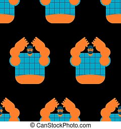 redneck seamless pattern. Angry bearded man in shirt...