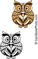 redondeado, búho, pájaro, con, marrón, plumaje
