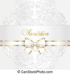redondeado, encaje, boda, lujo, invitación, blanco
