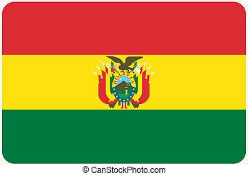 redondeado, esquinas, ilustración, bandera, país, bolivia