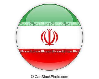 redondo, ícone, com, bandeira, de, irã