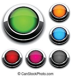 redondo, 3d, buttons.