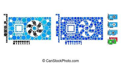 redondo, acelerador, tarjeta, mosaico, icono, vídeo, puntos