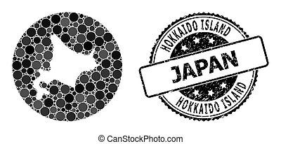 redondo, agujero, isla, sello de goma, hokkaido, mapa, ...