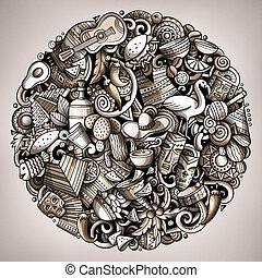 redondo, américa, latín, ilustración, doodles, caricatura