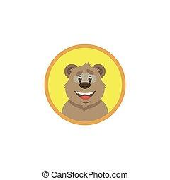 redondo, arte, rosto, caricatura, apartamento, cor feliz, ilustração, quadro, urso