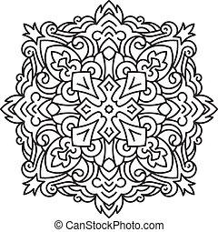 redondo, assimétrico, elemento decorativo, -, renda, mandala, em, zentangle, style., stylized, vetorial, flor, para, desenho, ou, tattoo.