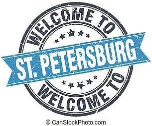 redondo, azul, estampilla, vendimia, bienvenida, petersburg...