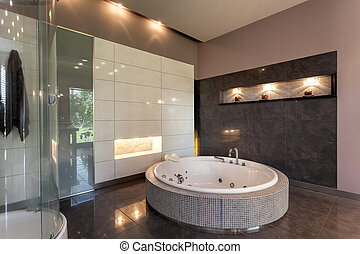 redondo, baño, en, un, lujo, mansión
