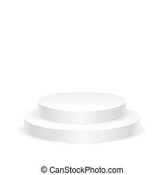 redondo, blanco, podio, vacío