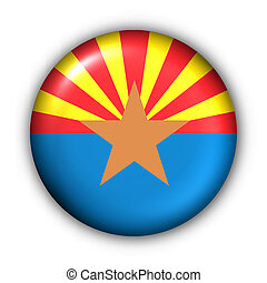 redondo, botão, eua, bandeira estatal, de, arizona